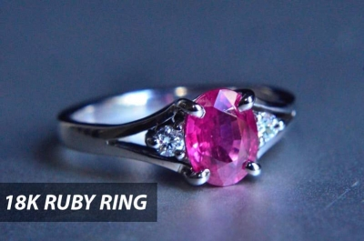 Why not a ruby ring with diamonds. The color combination makes perfect shiny ring. Available at Shiraz Jewelry store in Chiang Mai.
